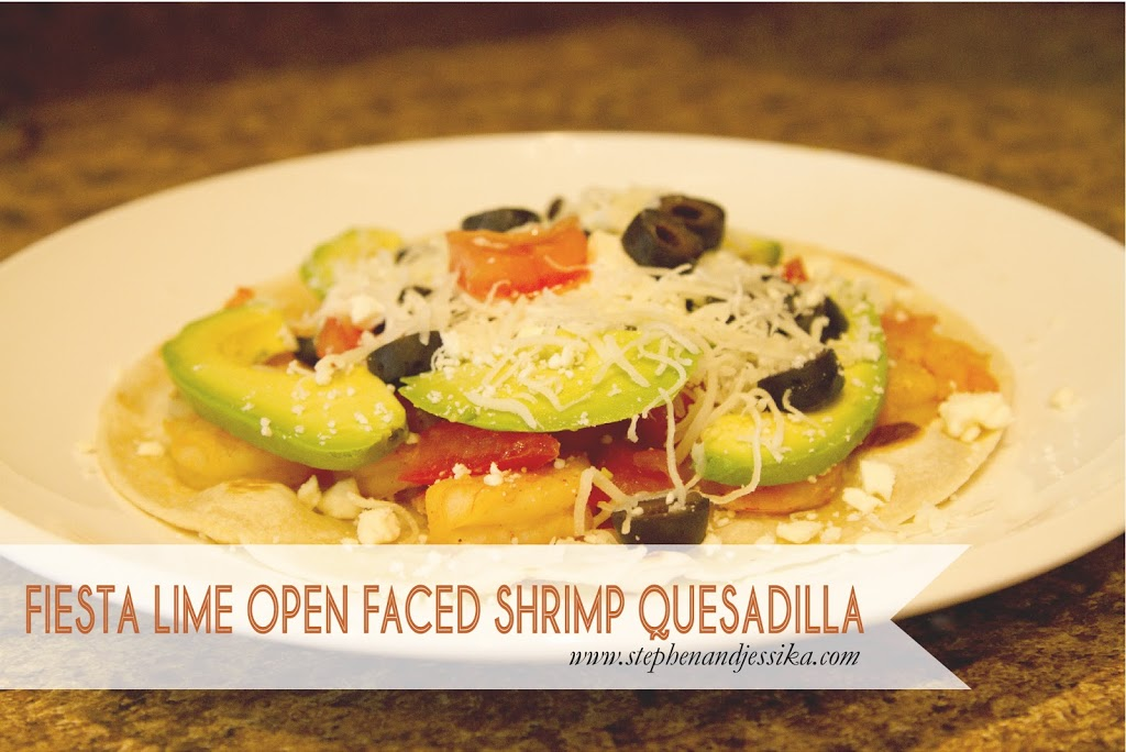 Fiesta Lime Open Faced Shrimp Quesadilla