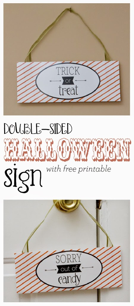 Trick or treat double sided sign Halloween Sorry out of candy
