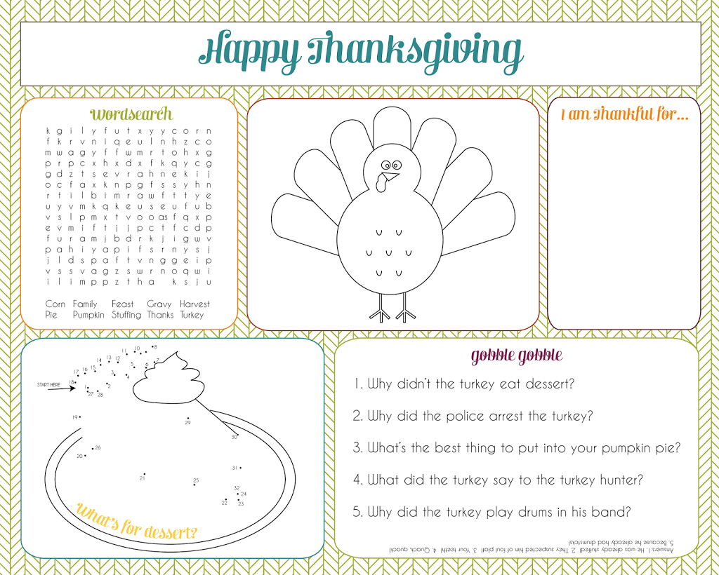 Thanksgiving Activity Placemat