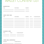 Wallet Content List free printable