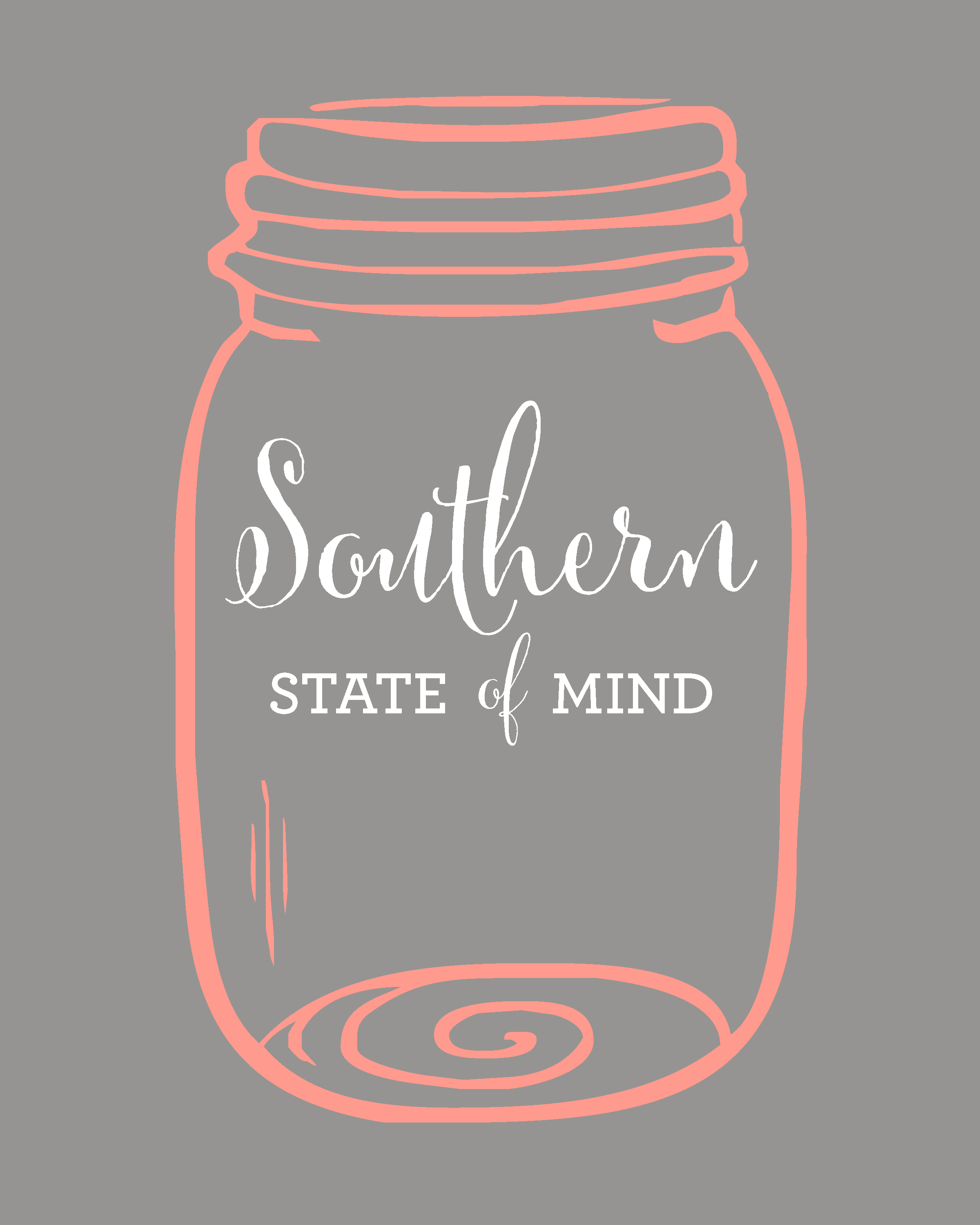 Southern State of Mind Mason Jar Free Printable - Hip & Simple