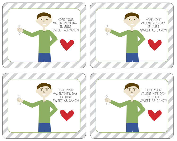 Sweet as candy Valentine's Free Printable - Boy