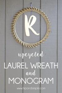 Upcycled Laurel Wreath and Monogram