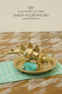 DIY Gold Plastic Toy Dino Jewelry Holder and Dish