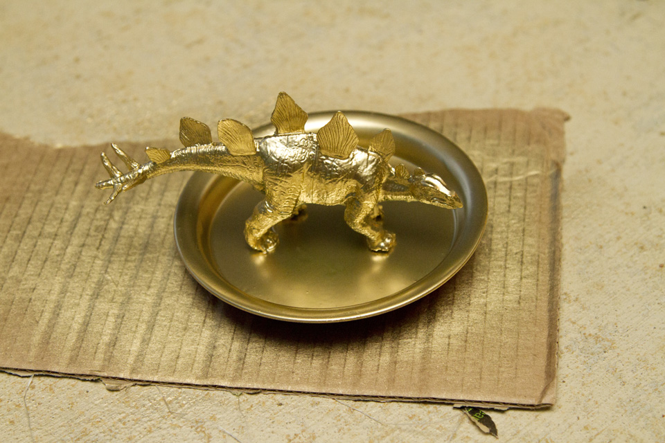 DIY Gold Plastic Toy Dino Jewelry Holder and Dish 5