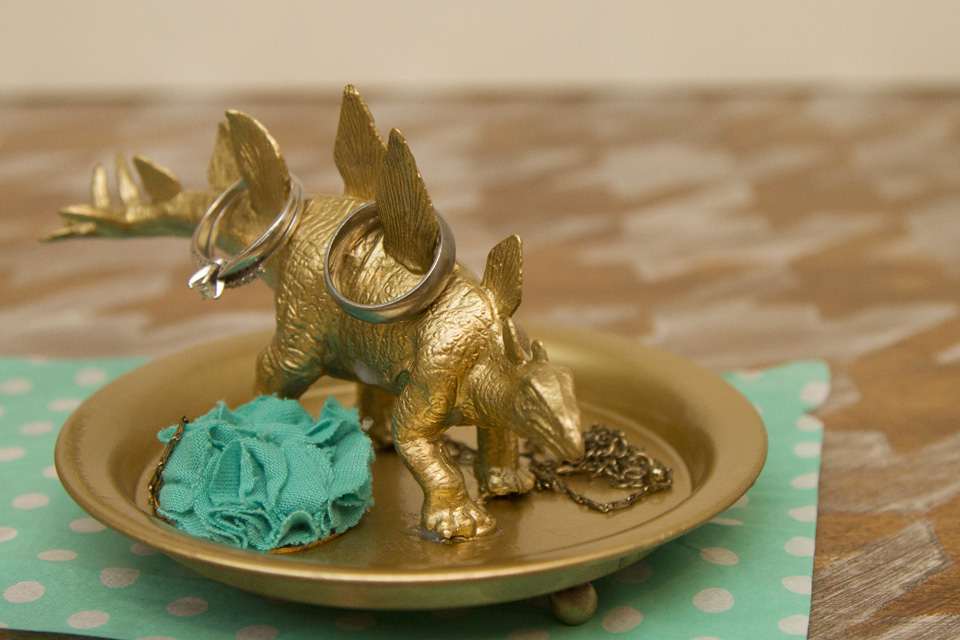 DIY Gold Plastic Toy Dino Jewelry Holder and Dish 7