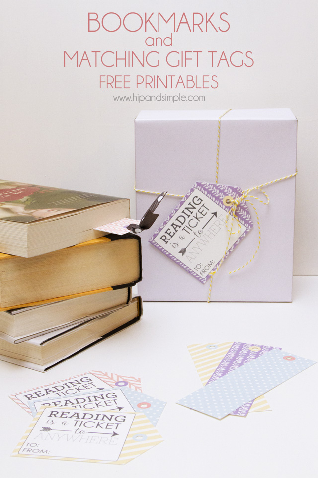 Bookmarks and matching gift tag free printables - main