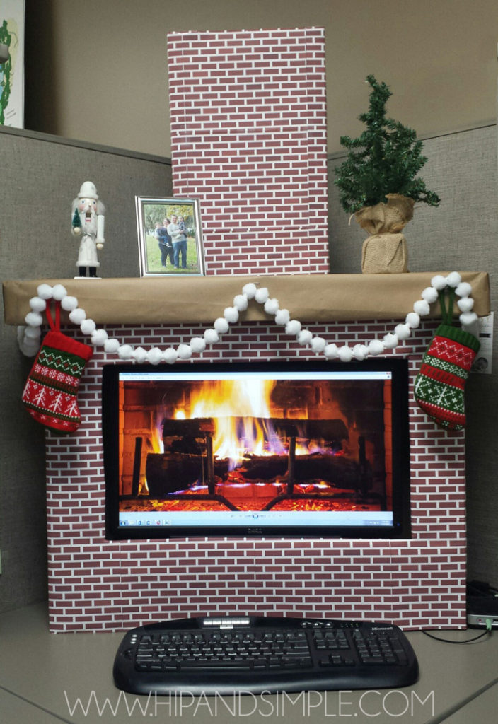 Christmas Faux Cardboard Fireplace Mantel for home or office - computer screen cover with free brick printable- OFFICE