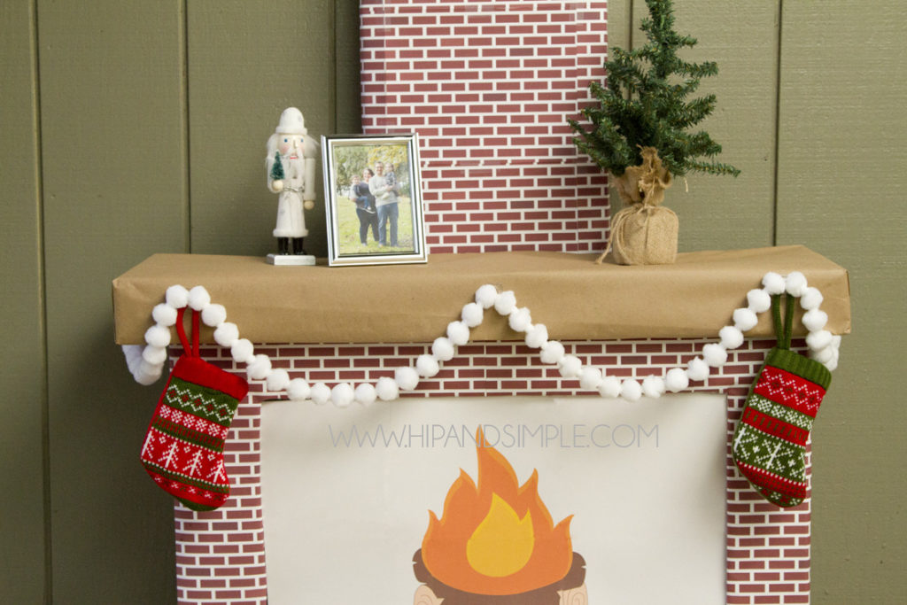 Christmas Faux Cardboard Fireplace Mantel for home or office - computer screen cover with free brick printable - featured