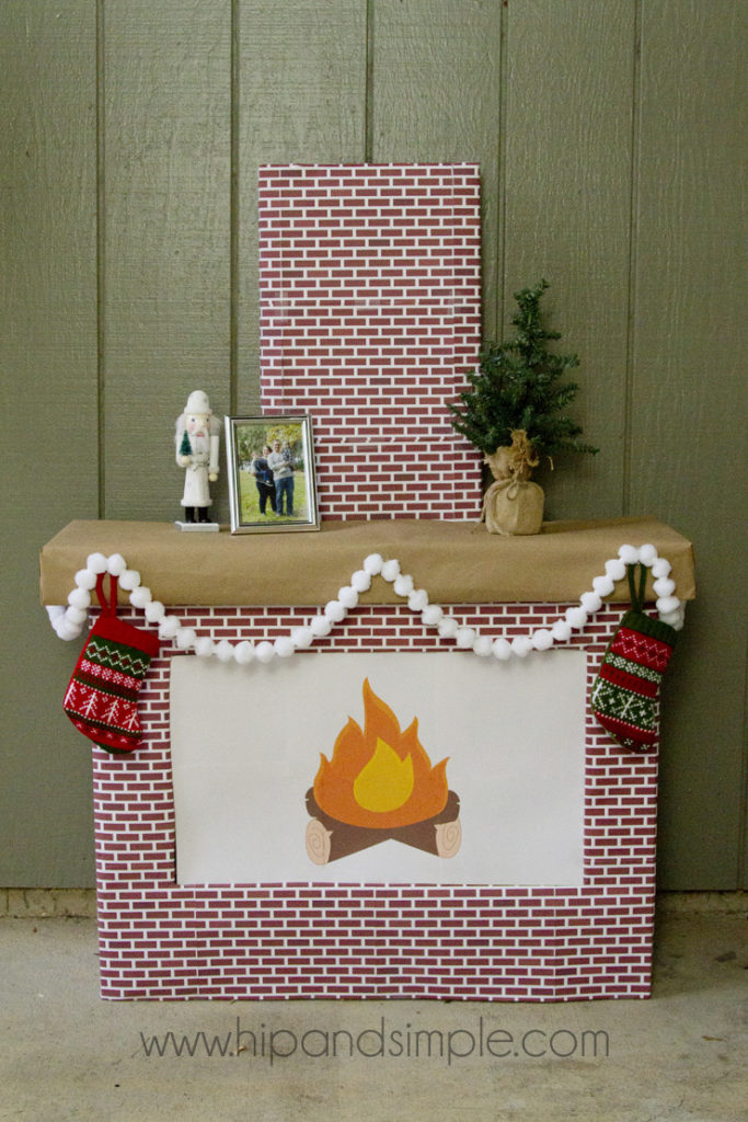 Christmas Faux Cardboard Fireplace Mantel for home or office - computer screen cover with free brick printablej - home
