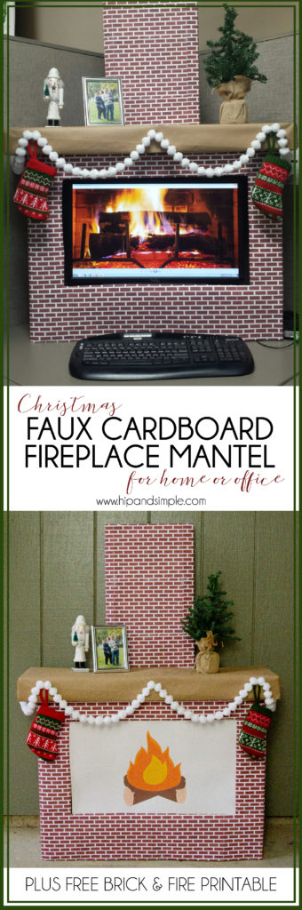Christmas Faux Cardboard Fireplace Mantle for home or office - computer screen cover with free brick printable - Hero-01