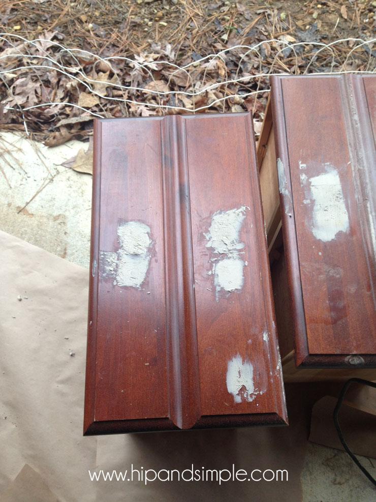 Shabby Chic Free Dresser Redo - Wood Filler