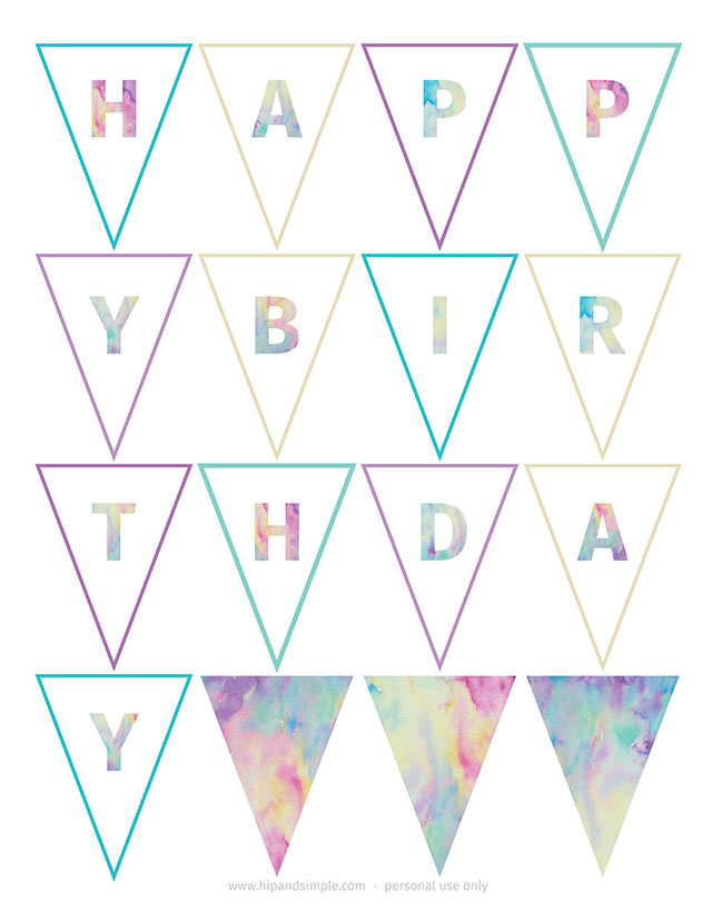 watercolor birthday banner free printable_hipandsimple