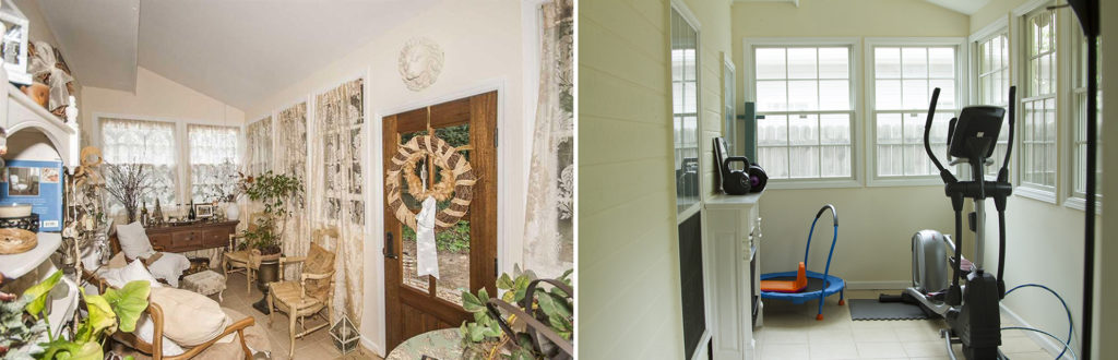 Before and after sunroom
