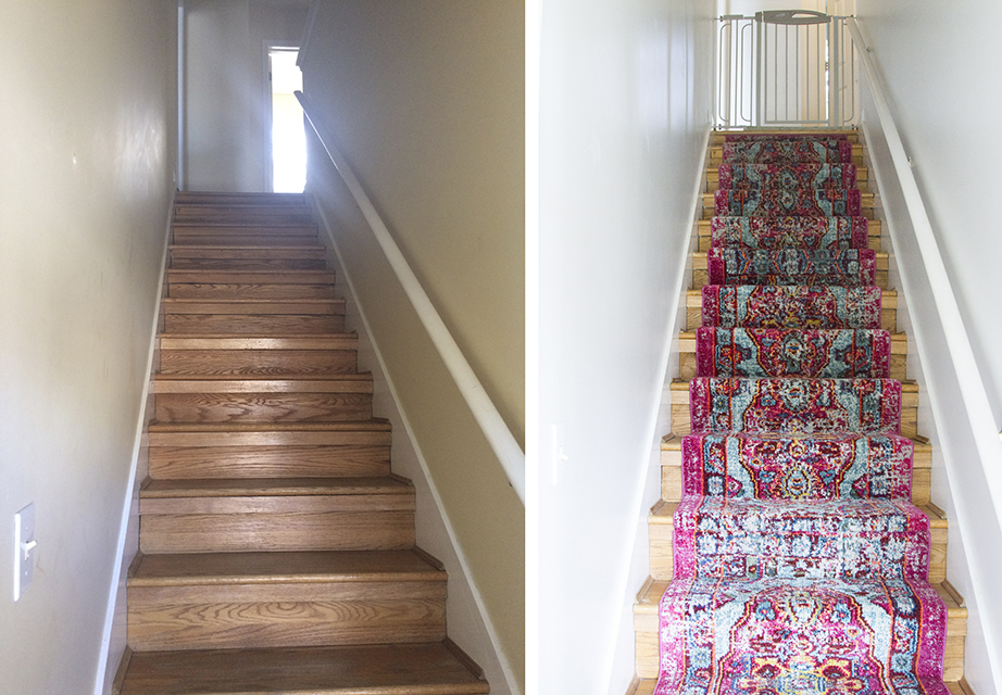 Before and After stair carpet