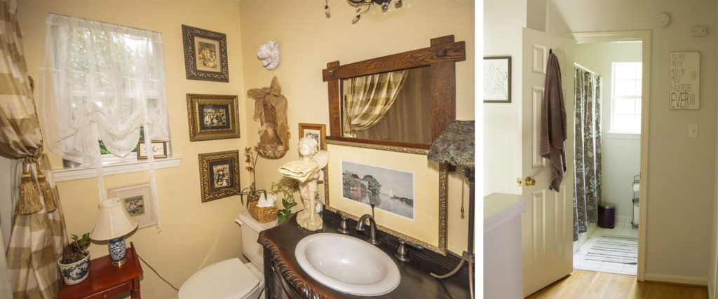 Before and After of upstairs bathroom