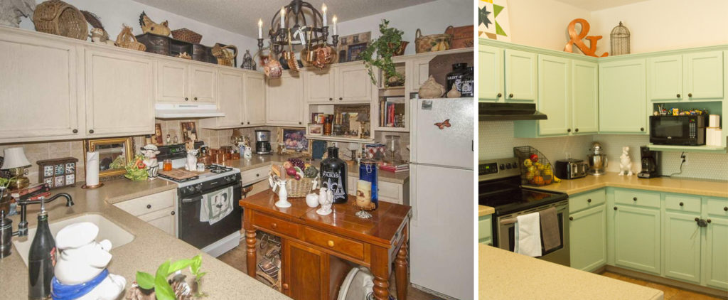Before and after of our kitchen with blue painted cabinets