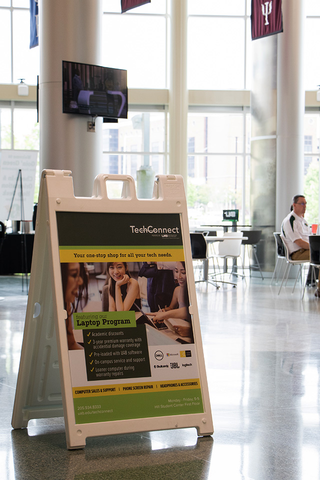 TechConnect sandwich board in Hill Student Center